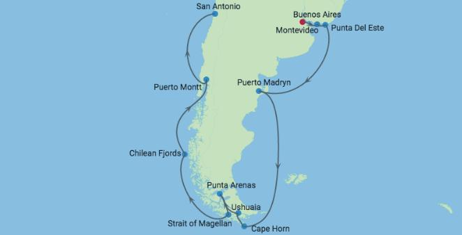 Croisière Amérique du Sud map