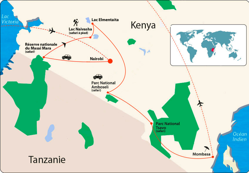Kenya et extension Mombasa map