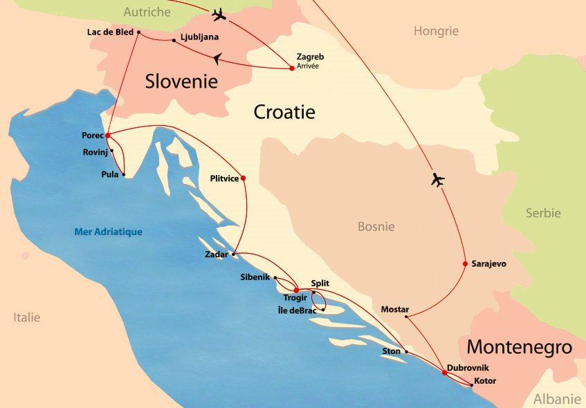 Croatie, Slovénie, Monténégro et Bosnie map