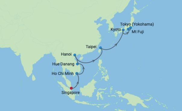 Croisière Singapour, Vietnam, Taiwan et Japon map