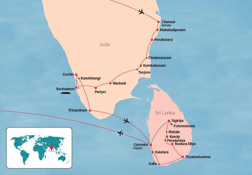 Inde du Sud et Sri Lanka map