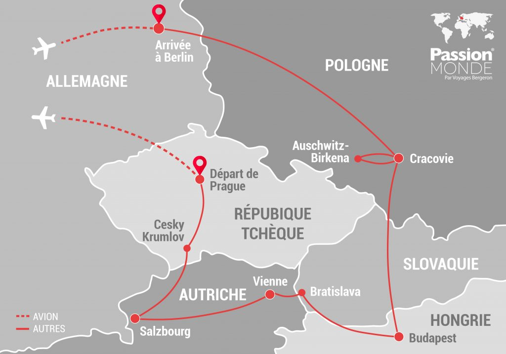 Vienne, Prague, Budapest, Berlin... map