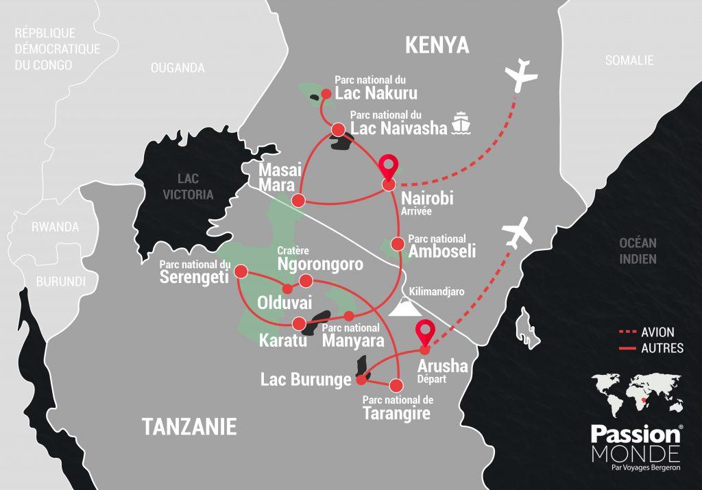 Kenya et Tanzanie map