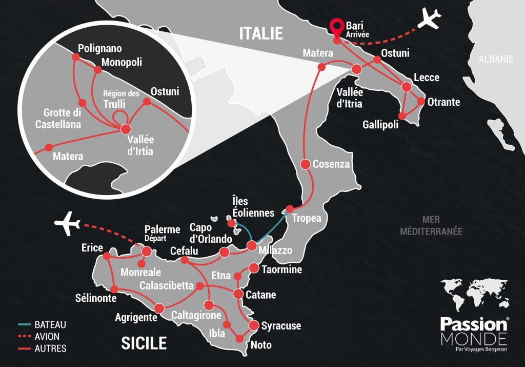 Italie du Sud et Sicile map
